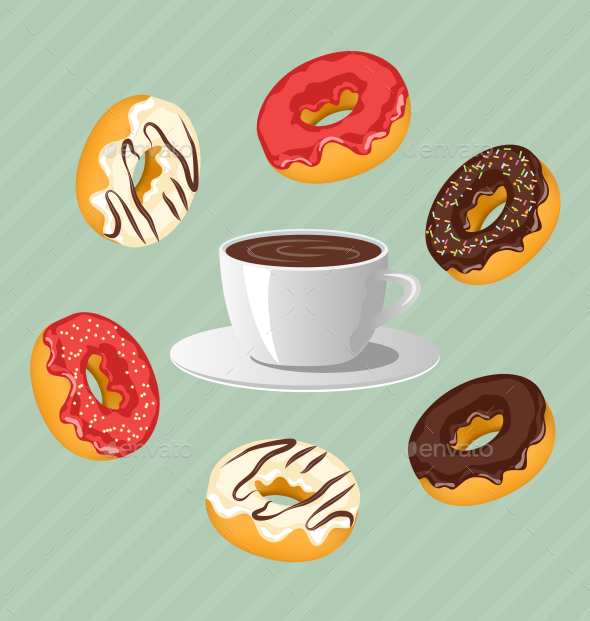 GraphicRiver Donuts with Cup of Coffee on Blue Background 9993507