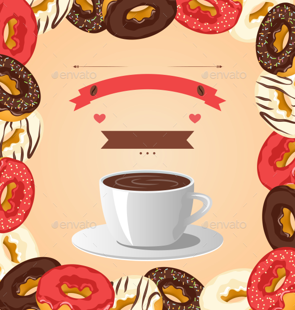 GraphicRiver Donuts with Cup of Coffee on Beige Background 9993513