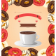 Donuts with Cup of Coffee on Beige Background - GraphicRiver Item for Sale