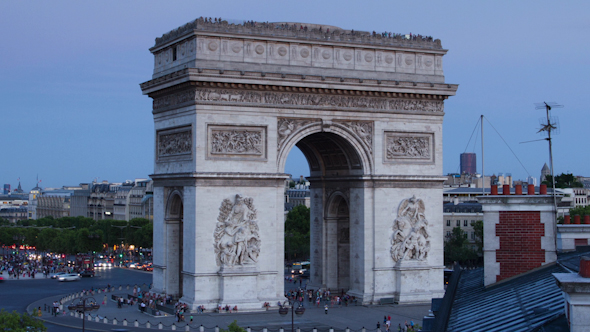 Arc Du Triomphe At Dusk Paris France 3