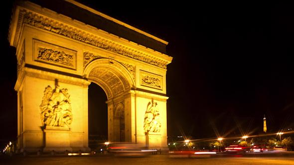 Arc Du Triomphe At Night Paris France 11