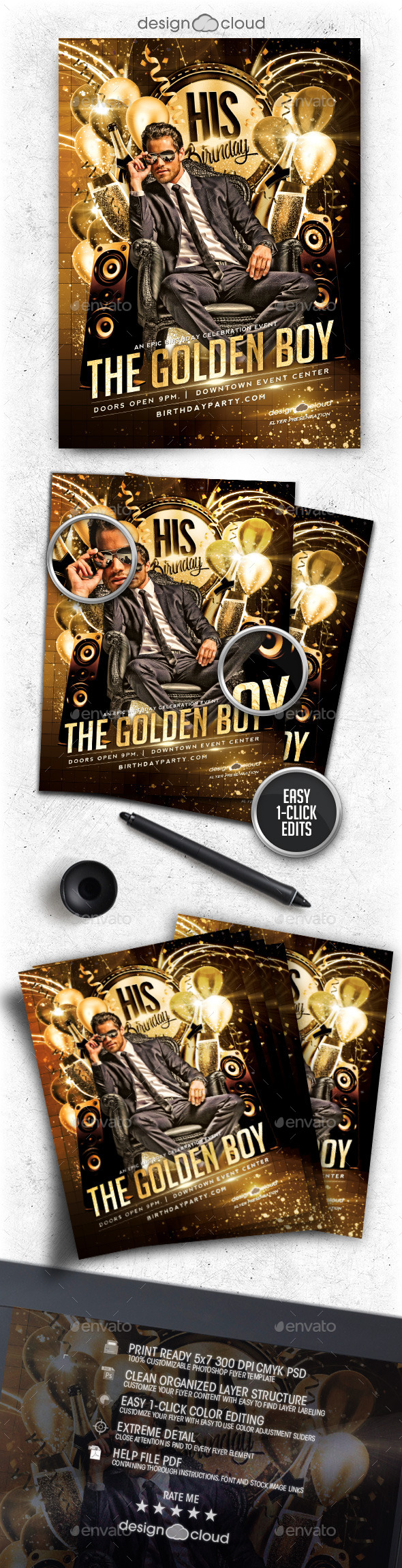 GraphicRiver Golden Boy Birthday Flyer Template 9993631