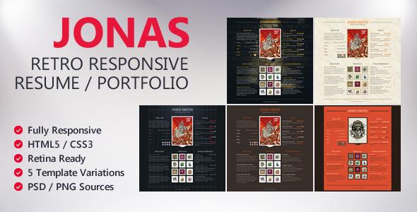 Jonas Retro Responsive Resume Portfolio
