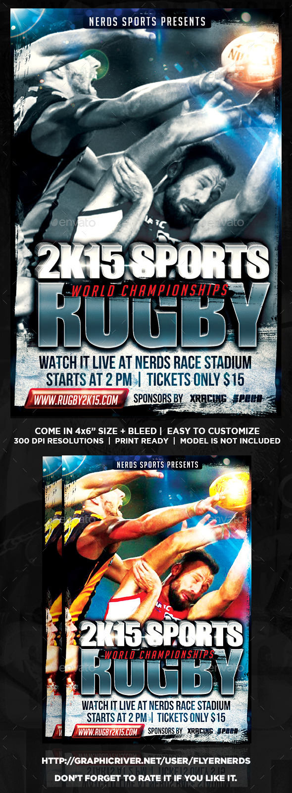 GraphicRiver Rugby 2K15 Championships Sports Flyer 9993970