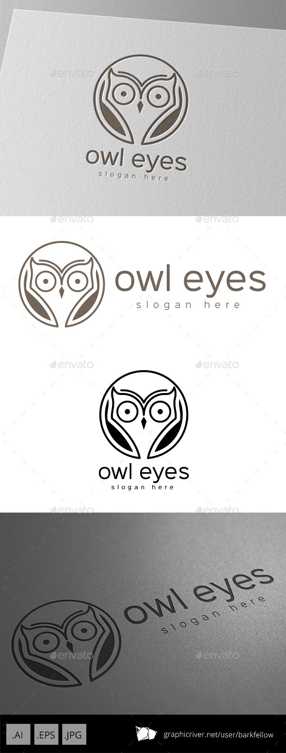 Owl Bird Eyes Logo