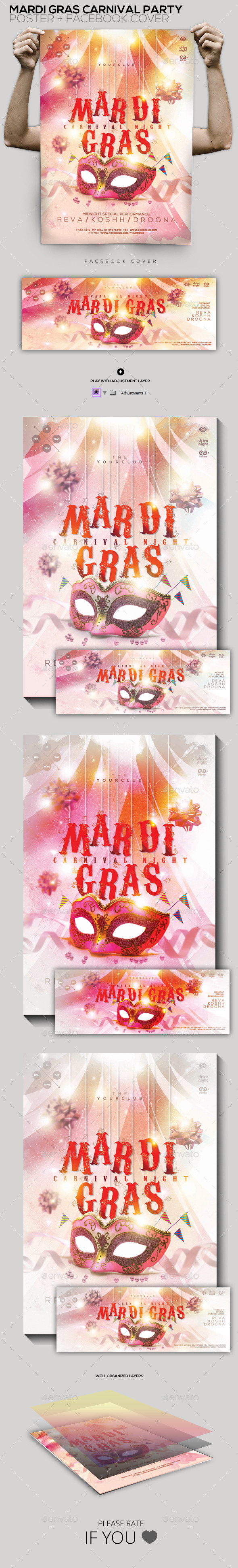 Mardi Gras Carnival Party Flyer Poster Facebook