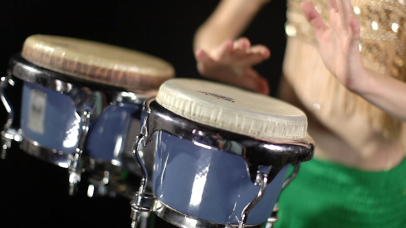 Female Percussion Drummer Performing With Bongos 15