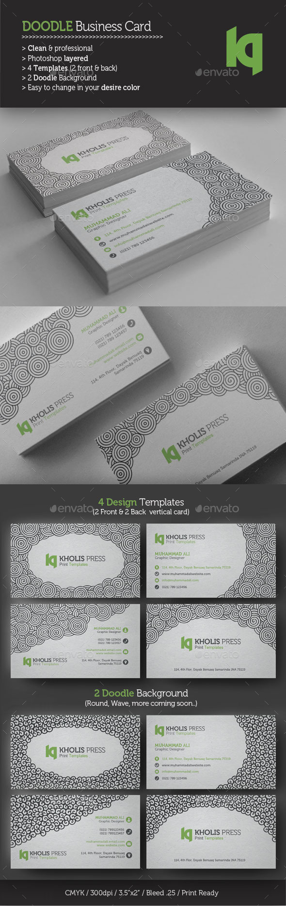 GraphicRiver 2 Style Doodle Business Card 9994426