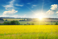 field, sunrise and blue sky - PhotoDune Item for Sale