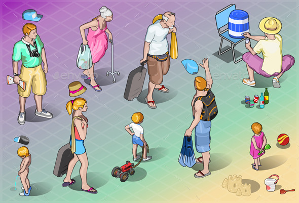 GraphicRiver Isometric Tourists Peoples Set in Vacation 9994832