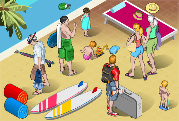 GraphicRiver Isometric Tourists Peoples Set at Resort 9994902
