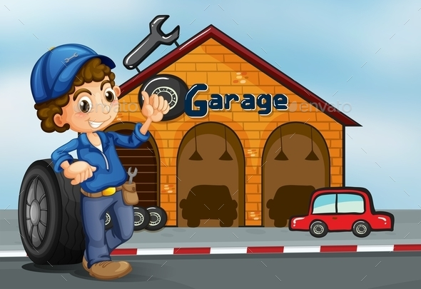 Boy Standing in Front of a Garage