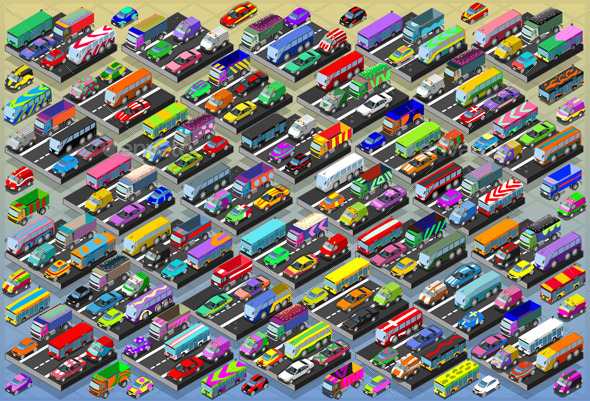 GraphicRiver Isometric Cars Buses Trucks and Vans Collection 9994930