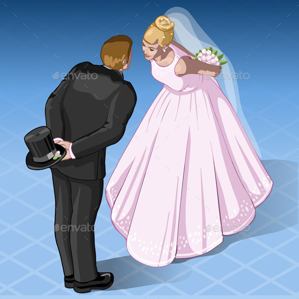 GraphicRiver Isometric Kissing Wedding Couple 9994953