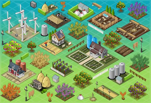 GraphicRiver Isometric Farm Set Tiles 9994998