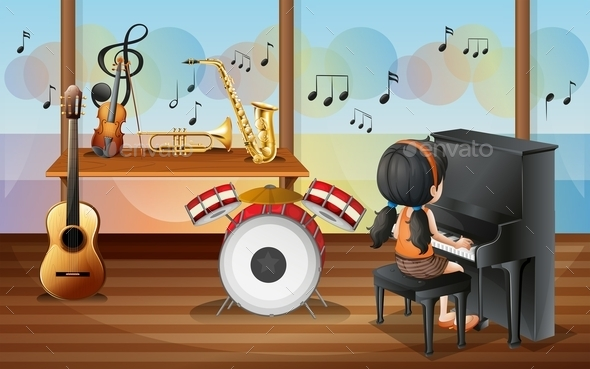 GraphicRiver Young Pianist Inside the Music Room 9995280