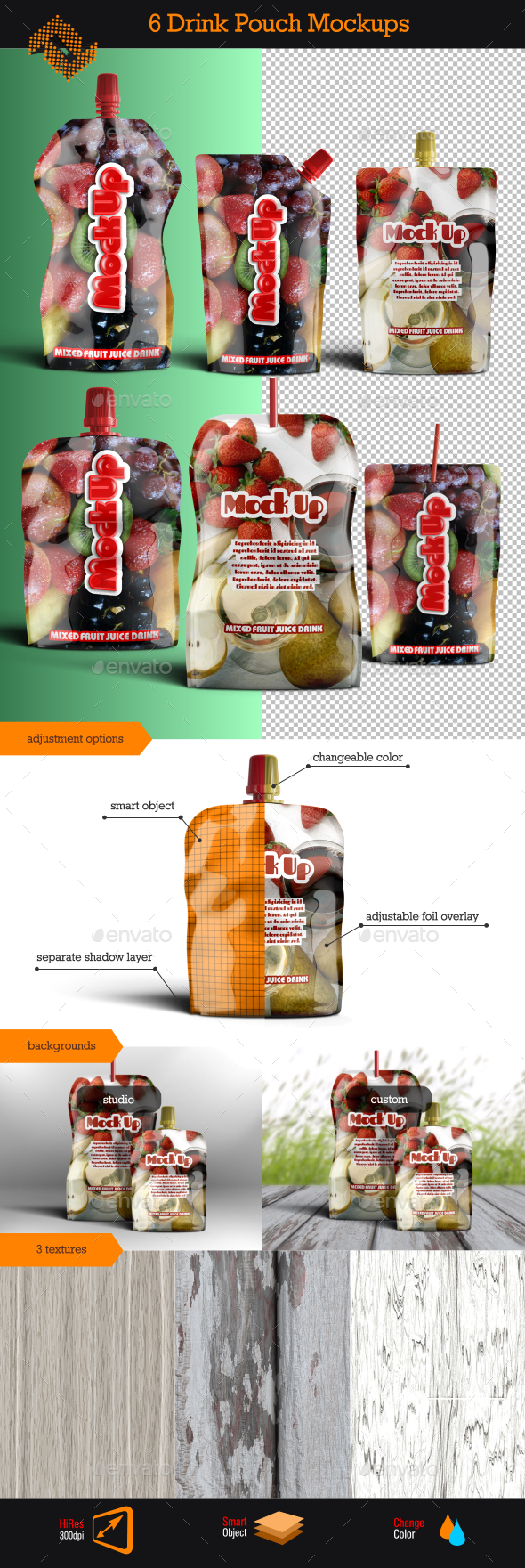 GraphicRiver Aluminum Instant Drink Pouch Mockup 9995283