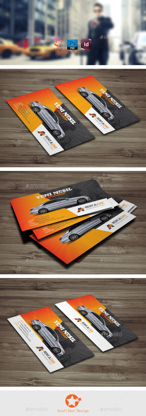 GraphicRiver Rent A Car Business Card Templates 9995327