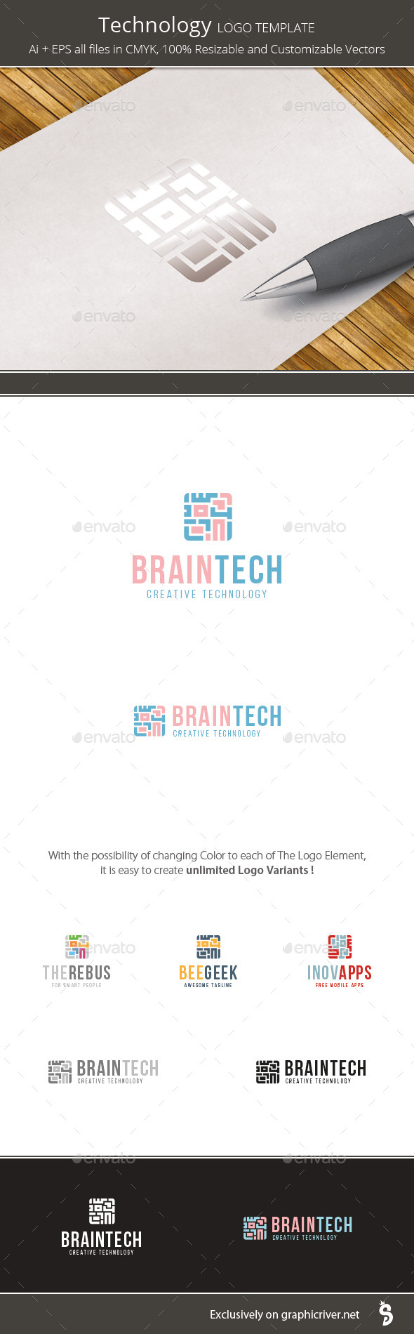 GraphicRiver Technology App Logo Template 9995422