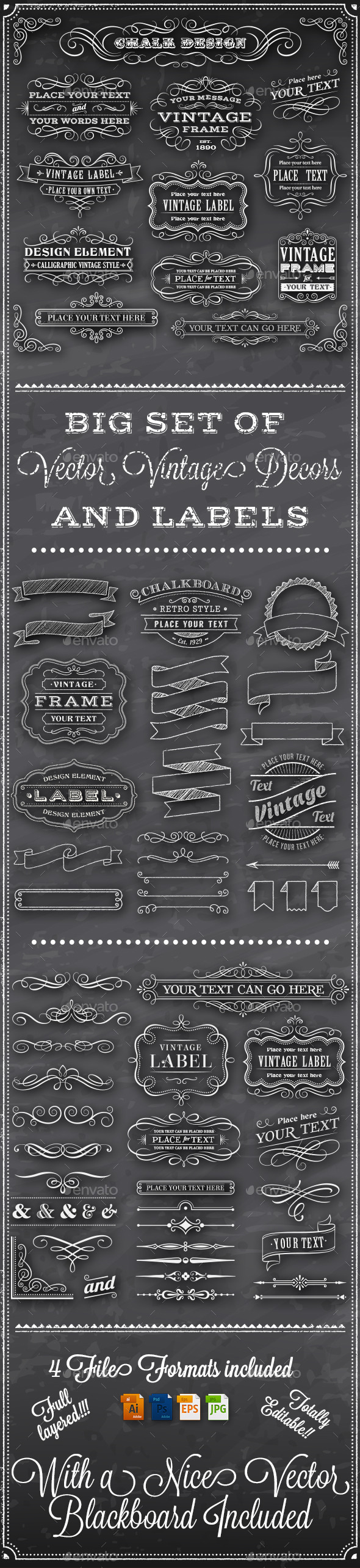 GraphicRiver Chalkboard Decorations 9995737