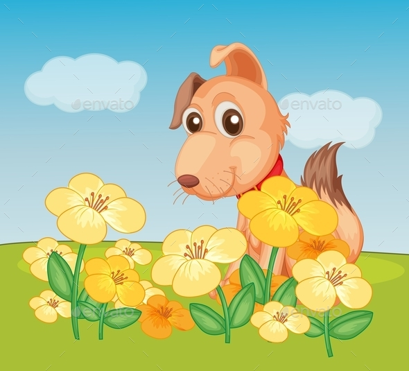GraphicRiver Dog and Flowers 9995939