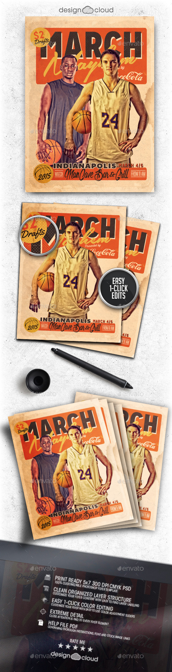 GraphicRiver March Mayhem Retro Basketball Flyer Template 9996208