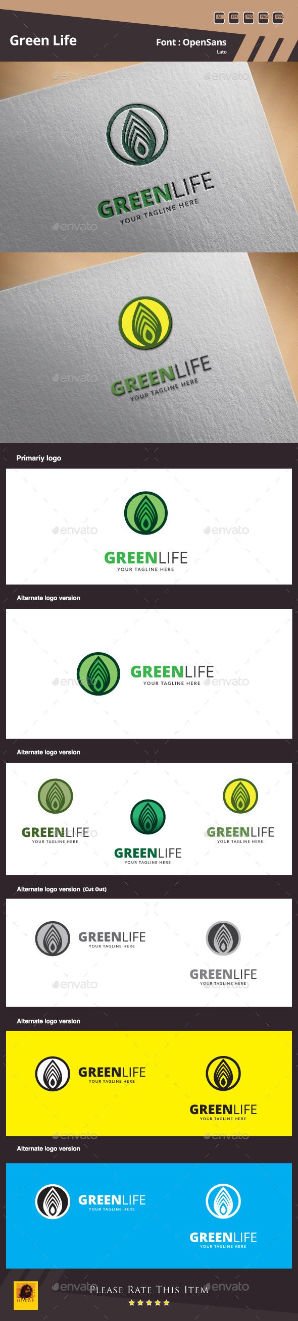 Green Life Logo Template