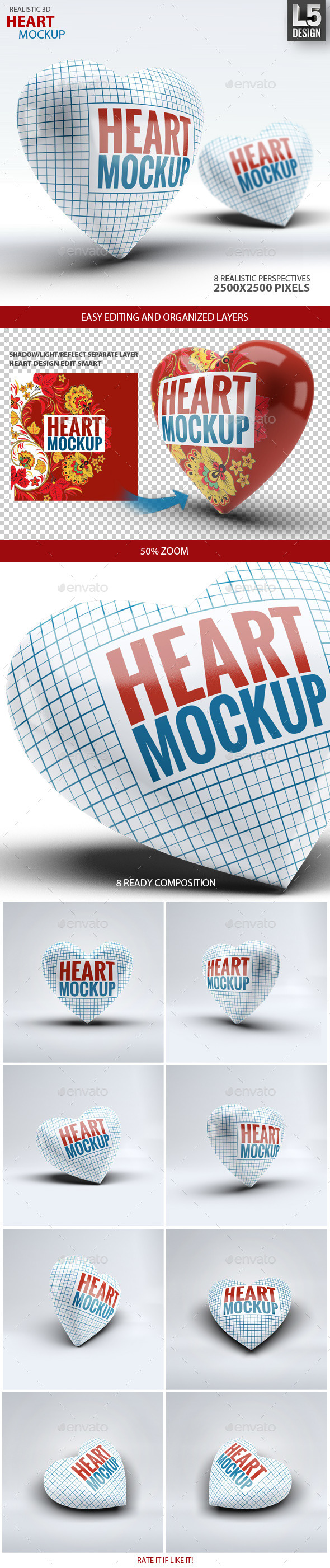 GraphicRiver Heart Mock-Up 9996308