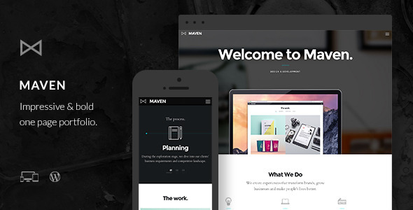 Maven is a fully responsive single or multi page portfolio. It offers stunning design, really great compatibility and comes with super mobile device support. In