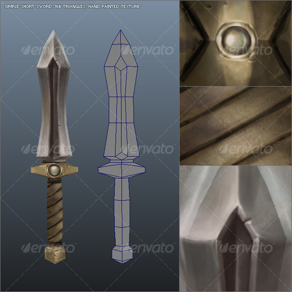 Low Poly Simple Short Sword 01 - 3DOcean Item for Sale
