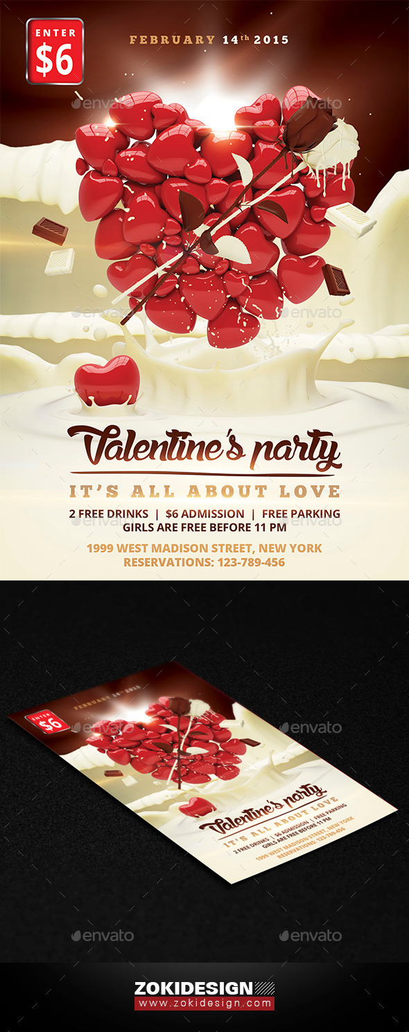 GraphicRiver Valentine Party Flyer 9997216