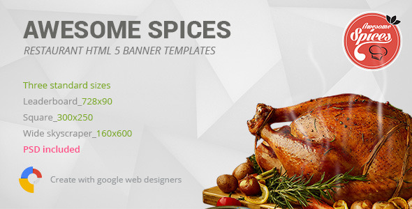 CodeCanyon Awesome Spices Restaurant HTML5 Banner Template 9997259