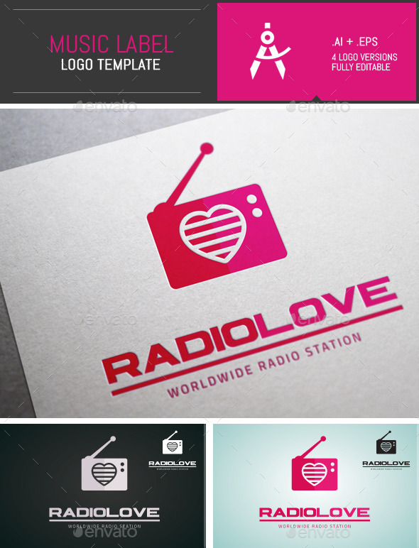GraphicRiver Minimal Radio Love Vector Logo 9997543