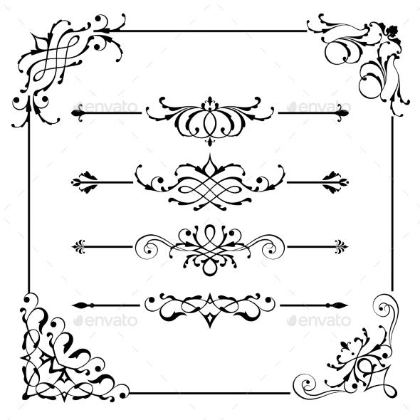 GraphicRiver Vintage Vector Frame Border Divider Corner 9997546