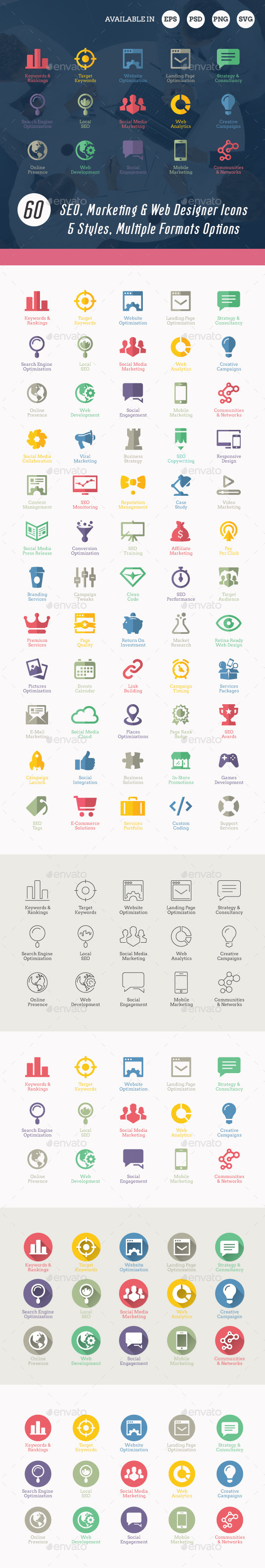 Modern SEO Services Icons - Business Icons