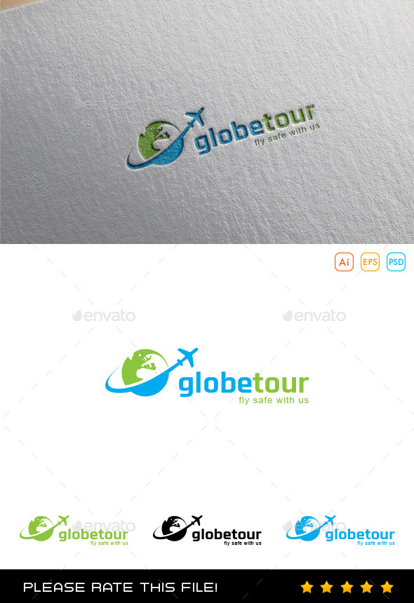 GraphicRiver Travel Plane Logo 9997875