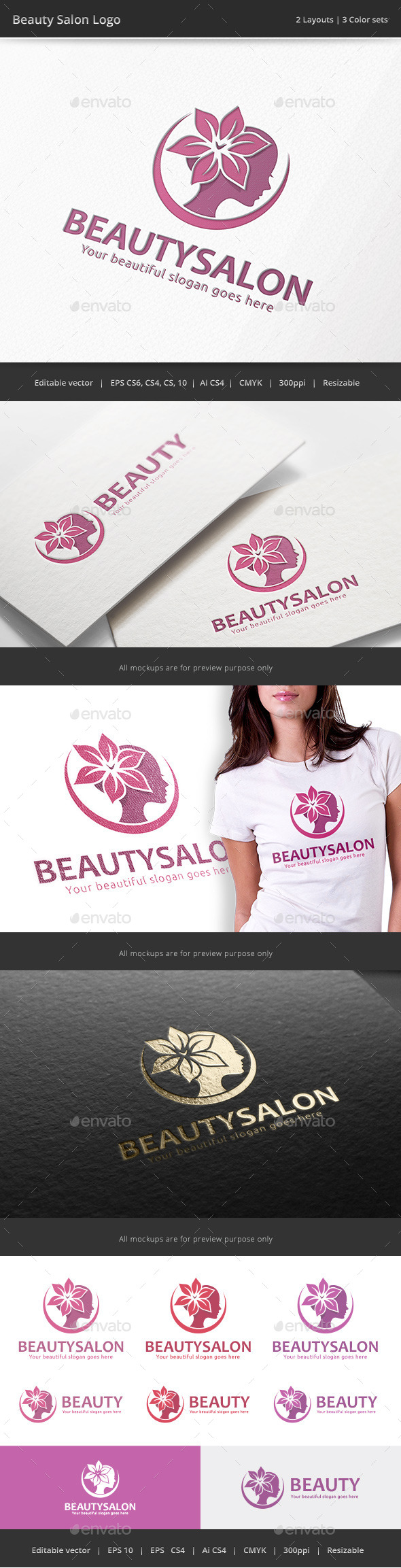 GraphicRiver Beauty Salon Woman Logo 9997945