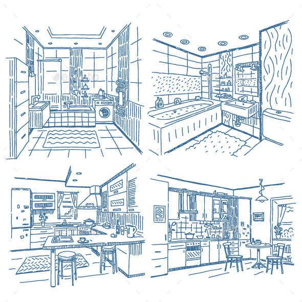Bathroom and Kitchen Drawings Set