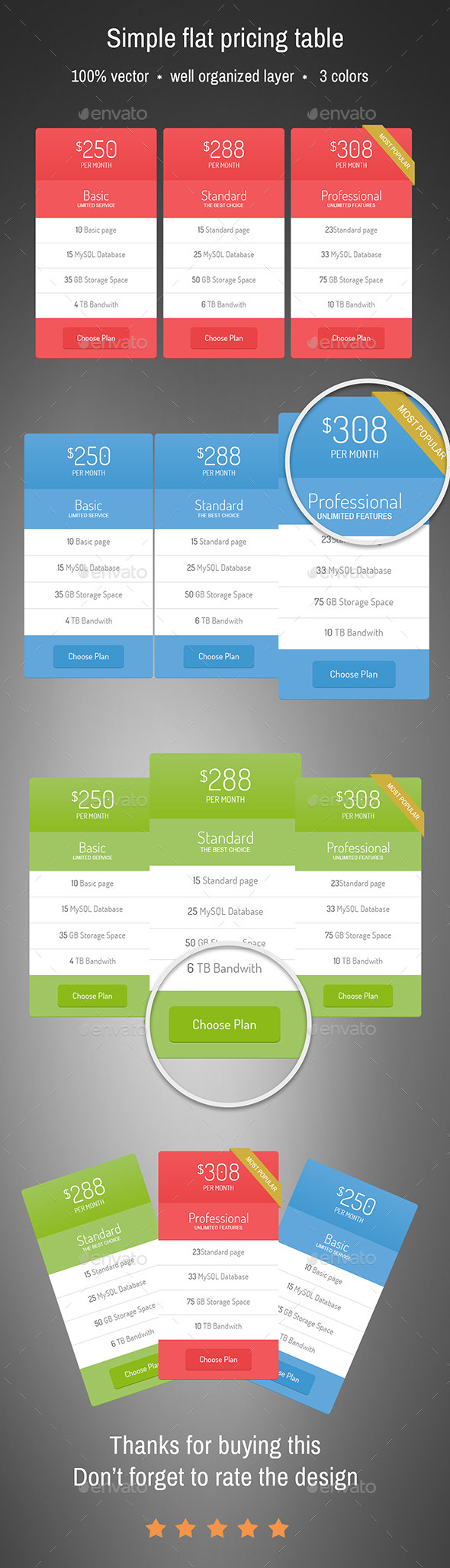 GraphicRiver Simple Flat pricing table 9998355