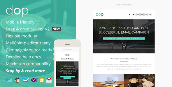 ThemeForest Dop Modern Email Template & Online Editor Access 9998728