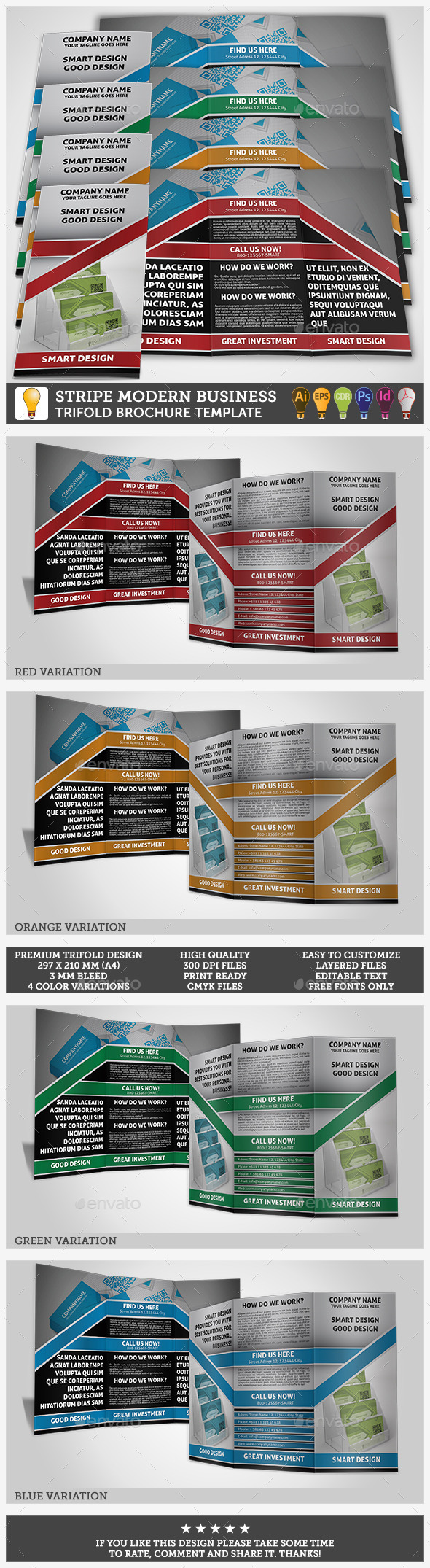 Modern Business Trifold Stripe Template  - Corporate Brochures