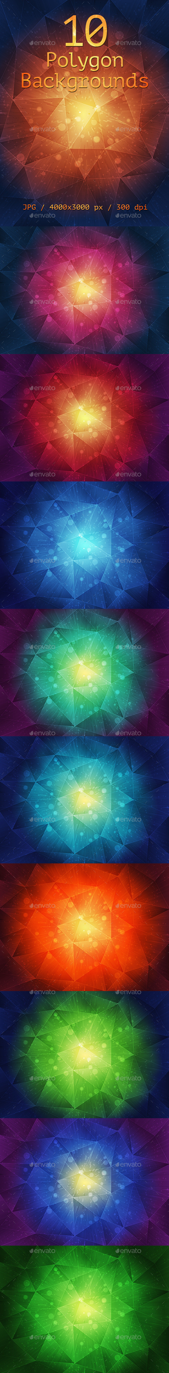 GraphicRiver 10 Polygon Backgrounds 9999000