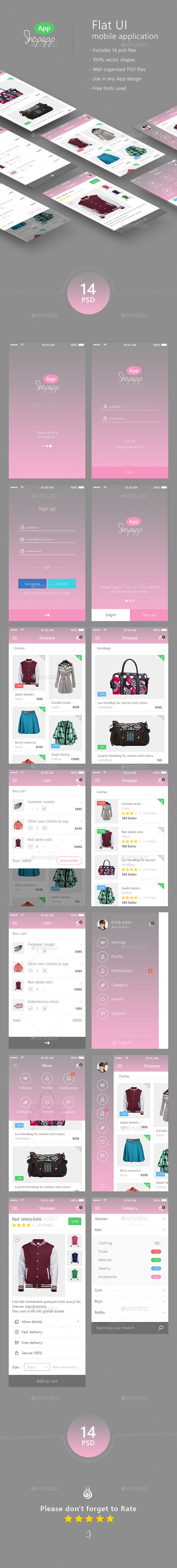 GraphicRiver Shopapp Flat Mobile App UI Shopping 9964129
