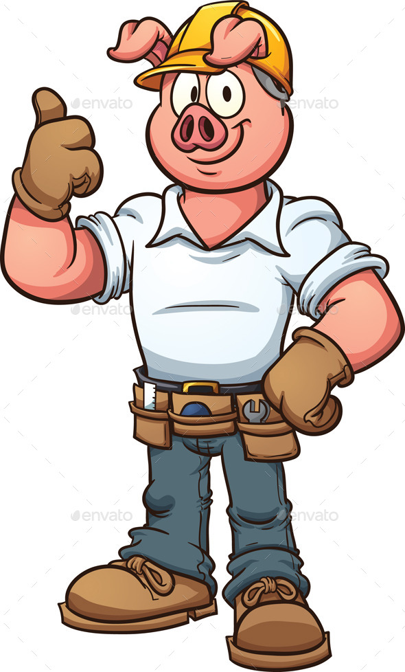 GraphicRiver Construction Worker Pig 9999668