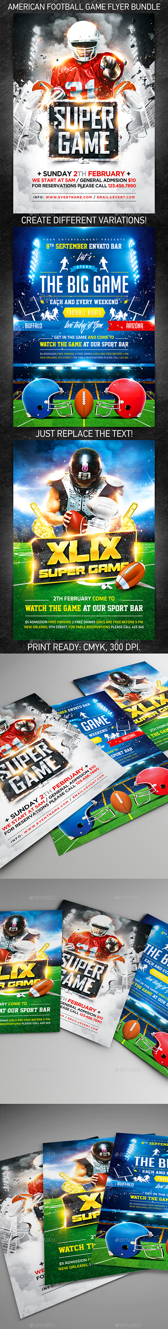 GraphicRiver American Football Game Flyer Bundle 10000733