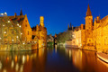 Night Cityscape with a tower Belfort from Rozenhoedkaai in Bruge - PhotoDune Item for Sale
