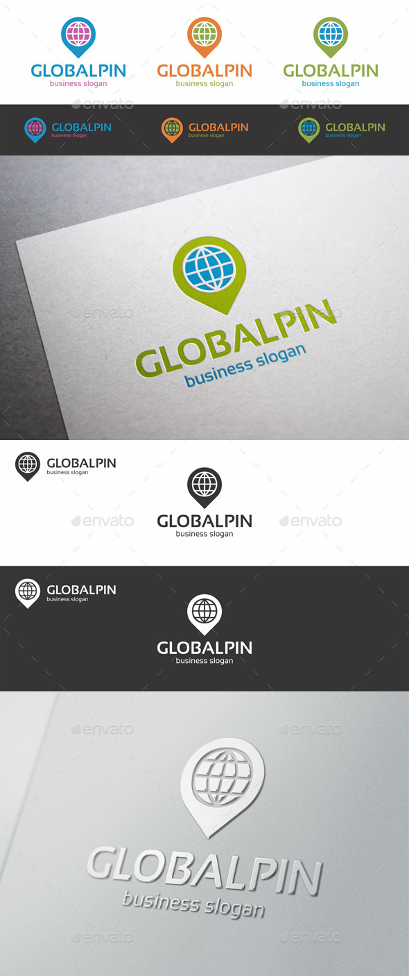 GraphicRiver Global Pin Point Locator Logo 10001276
