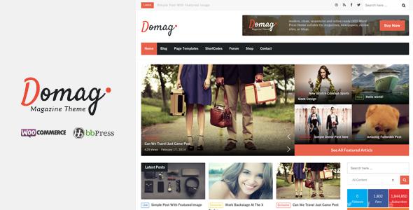 Domag l Flat Responsive Retina WordPress Magazine - News / Editorial Blog / Magazine