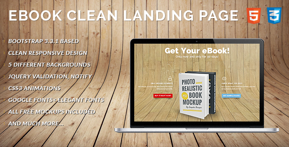 ThemeForest eBook Landing Page Clean and Responsive 10001933