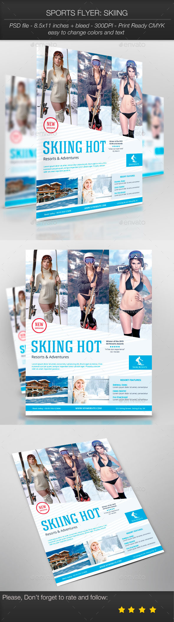 GraphicRiver Sports Flyer Skiing 10002206